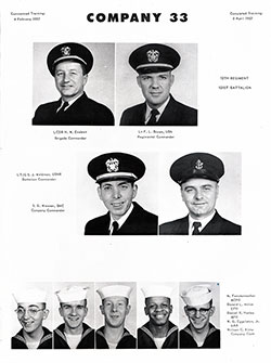 A page from a USNTC yearbooks for graduating recruits from the 1940s through 2000