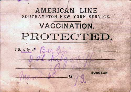 Vaccination Card - American Line - 1893 - Front Side