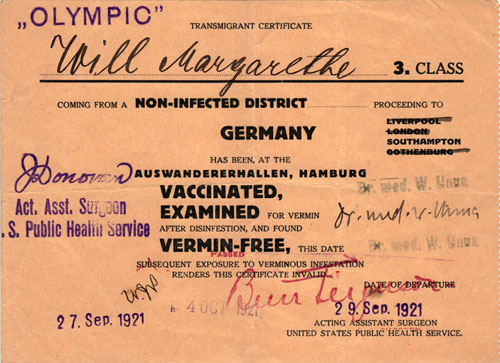 Transmigrant Certificate, 3rd Class Passenger R.M.S. Olympic, 1921
