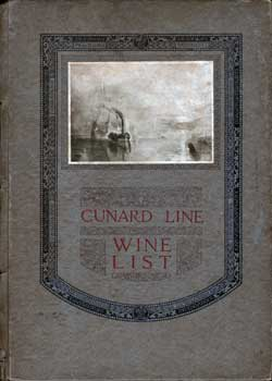 Front Cover, Cunard Wine List from April 1927