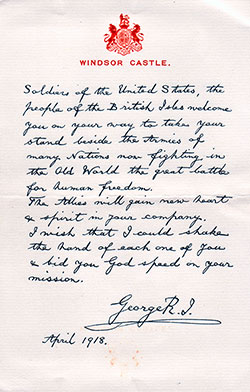 Letter to Soldiers of The United States from King George V - April 1918