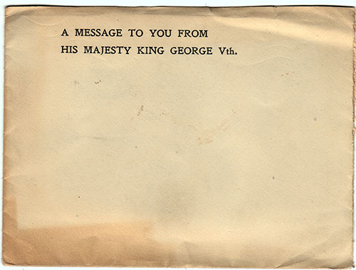Envelope - A Message To You From His Majesty King George Vth