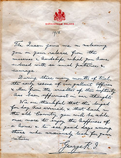 1918 Letter from King George V to British POW's On Their Release
