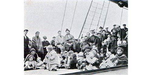 Immigrant Children on the deck of a steamer