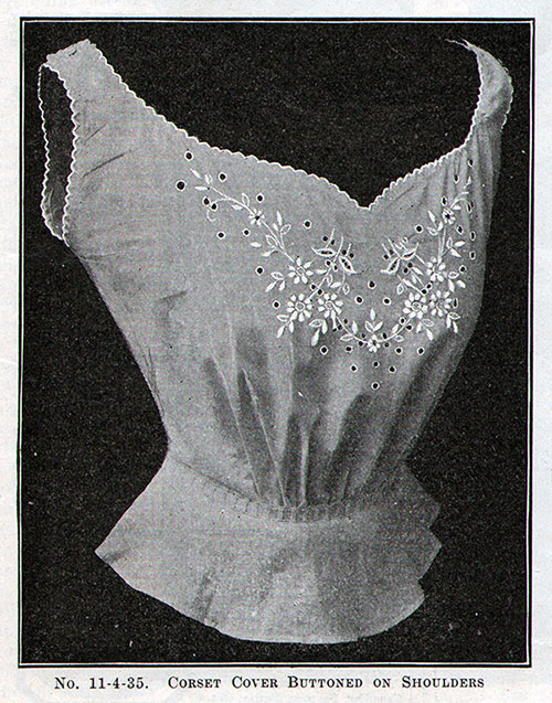 No, 11-4-35 Corset Cover Buttoned on Shoulders