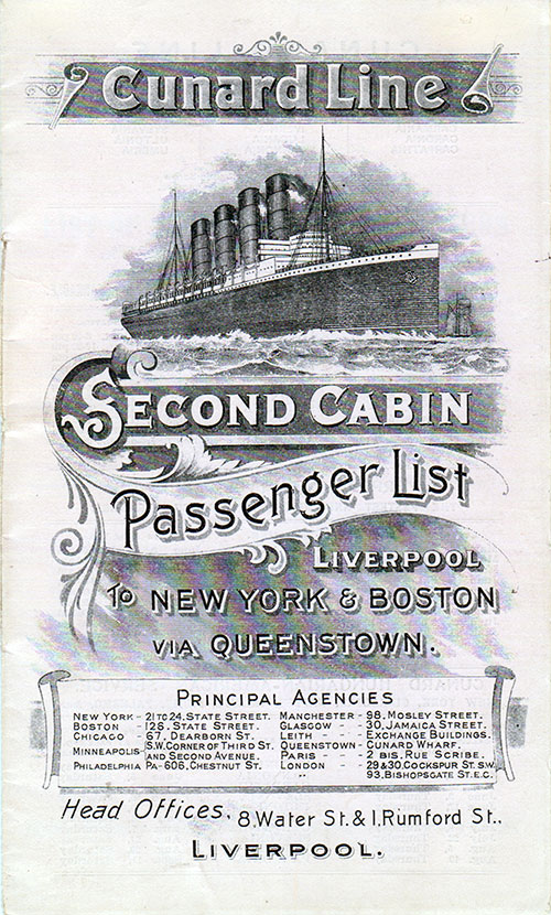 Passenger List, Cunard Line Ivernia 1909 Liverpool To Boston