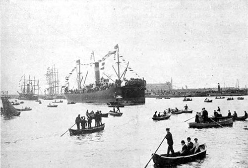 First Vessel To Enter The New Siberia Dock At Antwerp - 1907