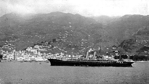 The SS Thames of the R.M.S.P. at Madeira in 1907