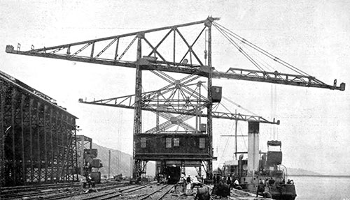 Transporter Loading Bunker Coal into a steamship in the Port of Natal - 1907