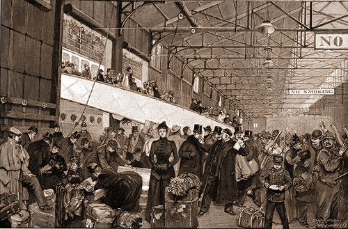 The end of a voyage - arriving in New York from a steamship circa 1890