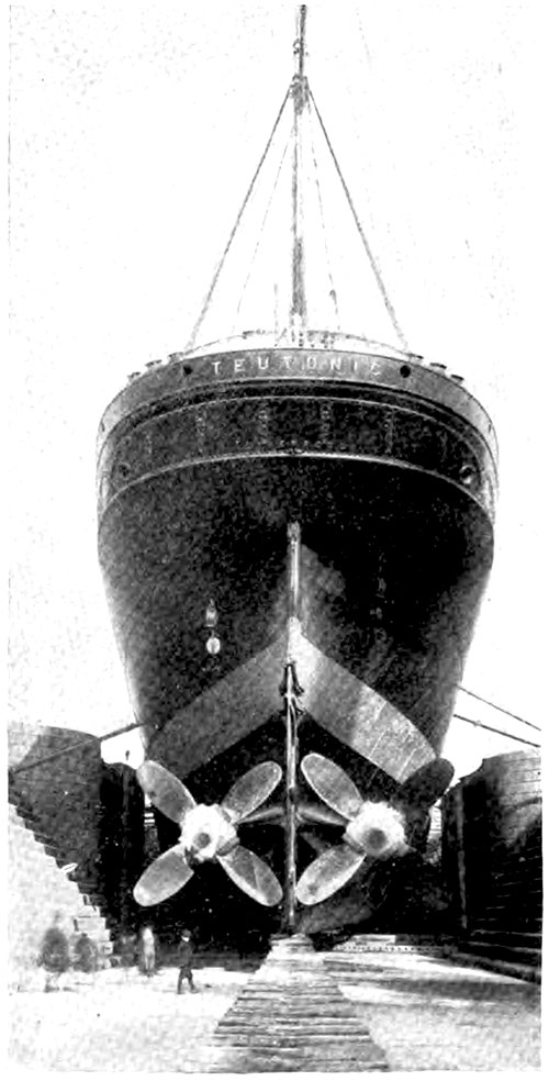 Twin-Screw Steamer SS Teutonic of the White Star Line in Dry Dock.