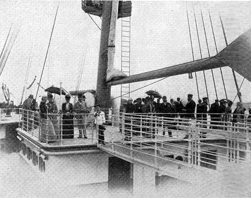 Passengers Out on the Promenade Deck of the White Star Liner SS Tectonic.