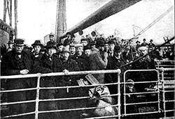Immigrants on Deck of an Ocean Liner Just Before Landing in the United States. Lessons for Junior Citizens, 1906.