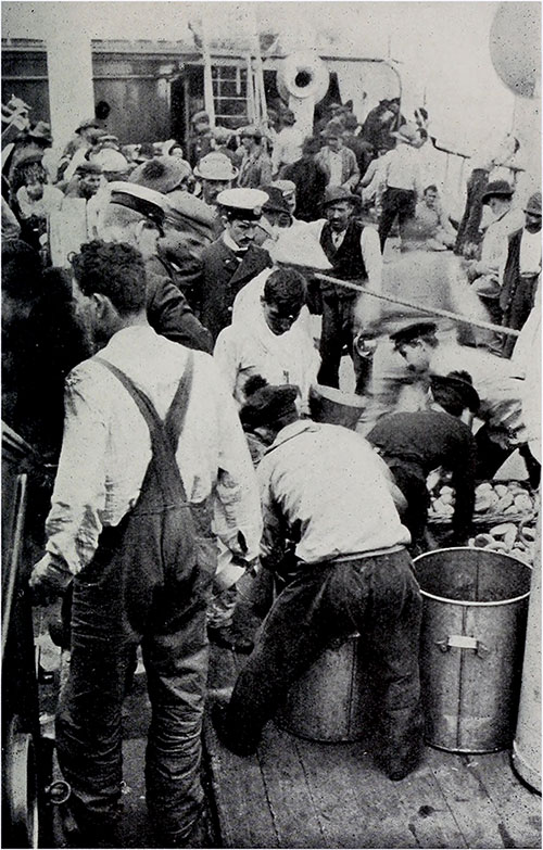 Preparing to Serve a Meal to Steerage Passengers on the Lahn from the Food-tanks and Bread-baskets.