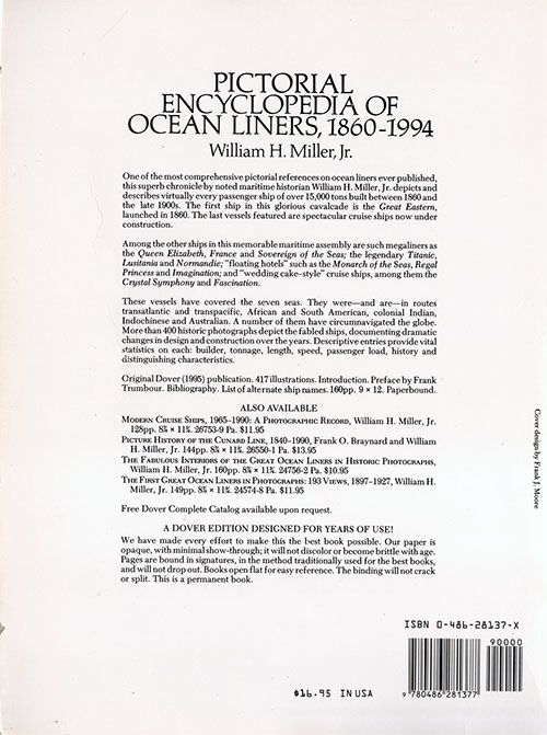 Back Cover, Pictorial Encyclopedia of Ocean Liners, 1860-1994