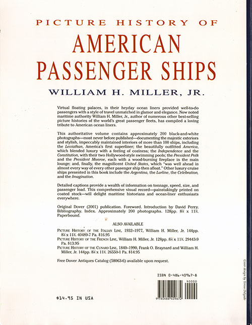 Back Cover, Picture History of American Passenger Ships (2001)