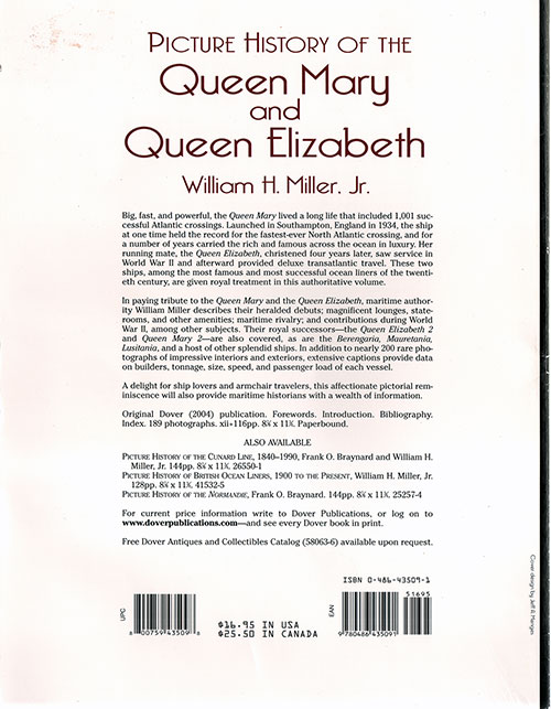 Back Cover, Picture History of the Queen Mary and Queen Elizabeth (2004)
