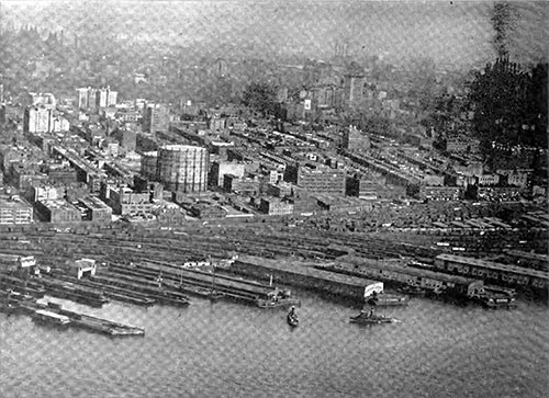 New York Central Railroad's Yards and Piers at 66th Street, North River, Manhattan.