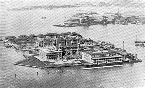 Ellis Island, Upper Bay of New York. U. S. Immigration Station in the Port of New York