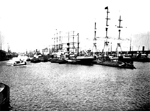 Sailing Ship Harbor at Hamburg.