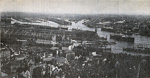General View of the North End of Hamburg Harbor.