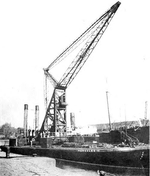 "Floating Barge Crane ""Hercules"" with a Maximum Lifting Capacity of 50 Tons."