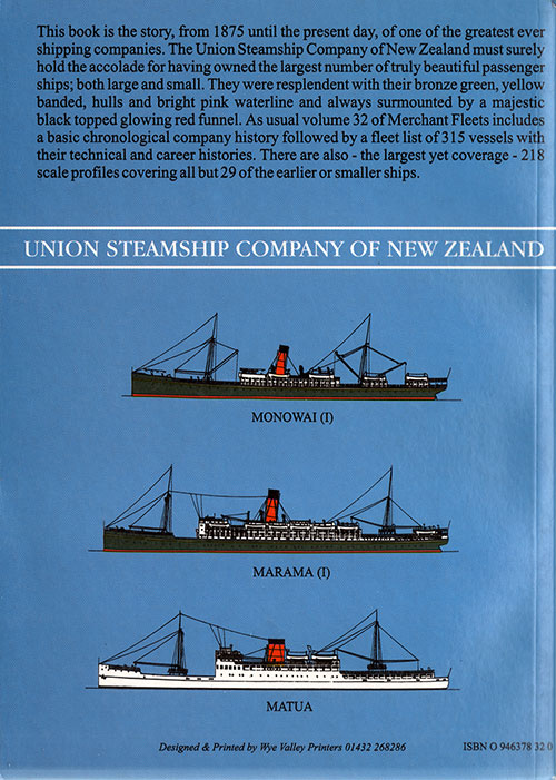 Back Cover, Union Steamship Company of New Zealand - Merchant Fleets #32