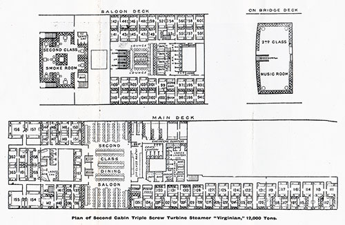 "Plan of Second Cabin - Triple Turbine Steamer ""Virginian,"" 12,000 Tons"