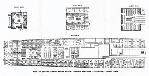 "Plan of Second Cabin - Triple Screw Turbine Steamer ""Victorian,"" 12,000 Tons"