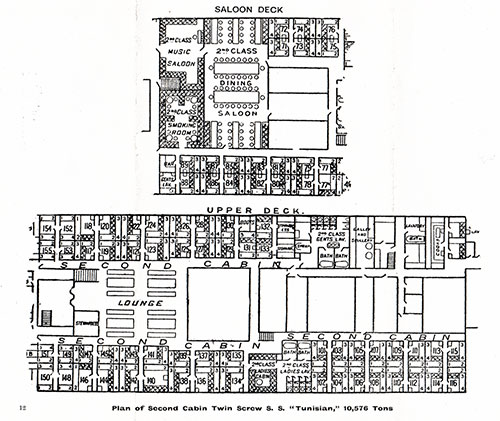 Plan of Second Cabin, Twin Screw SS Tunisian, 10,576 Tons