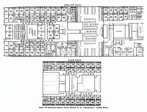 Plan of Second Cabin, Twin Screw SS Corsician, 11,000 Tons
