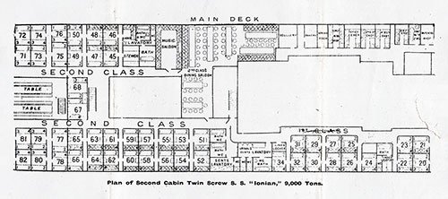 Plan of Second Cabin, Twin Screw SS Ionian, 9,000 Tons
