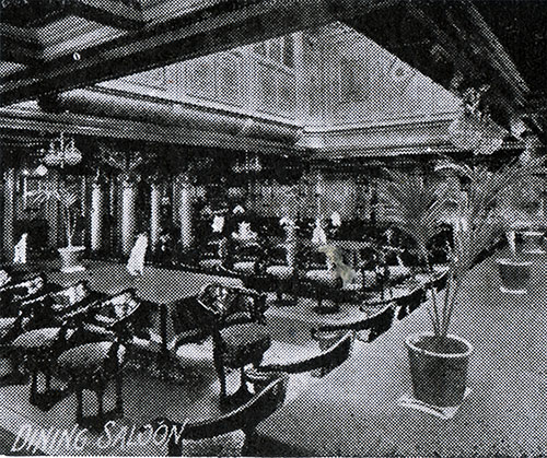 A View of the Dining Saloon on an American Line Steamer circa 1907