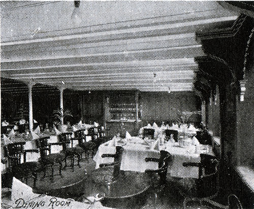 Dining Room of an American Line Steamer circa 1907