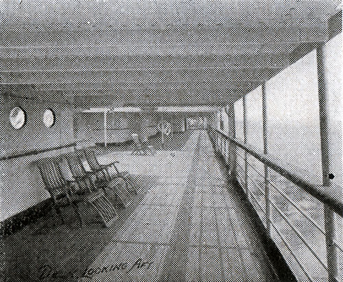 Shelter Deck Looking Aft on an American Line Steamship circa 1907