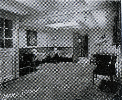 The Ladies' Saloon on an American Line Steamship circa 1907