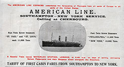 American Line, Southampton - New York Service, First Cabin Rates - 1901 Brochure