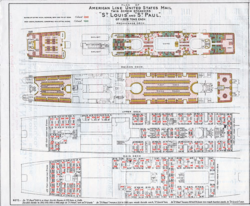 Cabin Class Deck Plan, American Line T.S.S. St. Louis and St. Paul