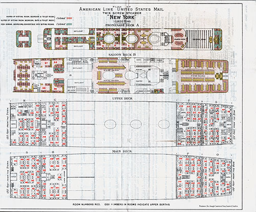 Cabin Deck Plan, American Line S.S. New York, 1901