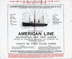 American Line Southampton -- New York Service with Tariff of First Class Fares.