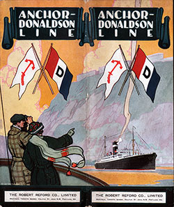 Front Cover, Anchor-Donaldson Line Bropchure on the Steamships Letitia and Athenia - 1926.
