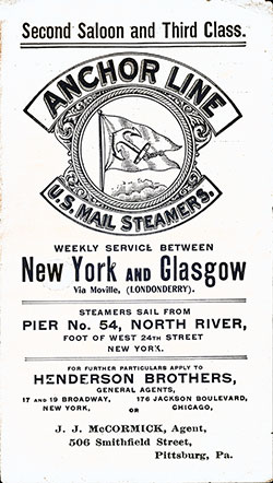 Front Cover, Second Saloon and Third Class on Anchor Line U.S. Mail Steamers.