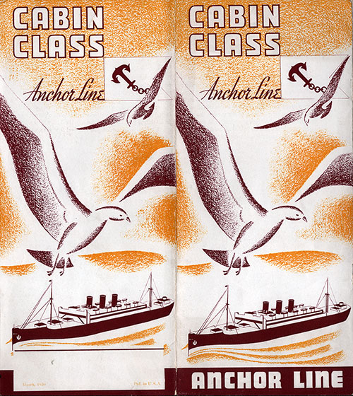 Front Cover, Anchor Line Cabin Class Brochure. Undated, circa 1930s.