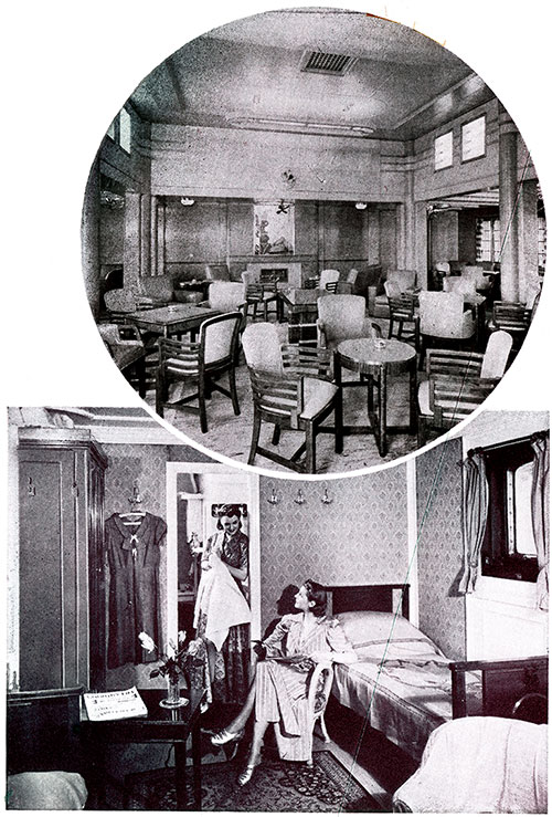 Top: Smoking Lounge on the TSS California. Bottom: Room with Bath on the TSS Caledonia.