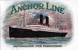 Front Cover, Anchor Line Information For Passengers - 1912 Brochure.