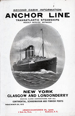 Front Cover, Anchor Line Second Cabin Information and Accommodations 1913
