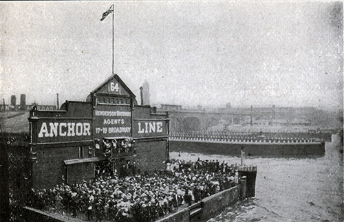 Pier 64 - New York Harbor - Anchor Line. Crowd Awaits Arrival of Ocean Liner.