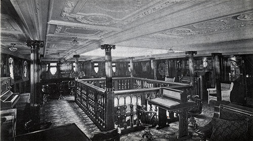 View of the Music Saloon on an Anchor Line Steamship