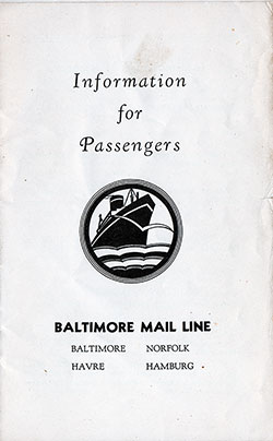 Front Cover, Baltimore Mail Line Information for Passengers. Published March 1932.