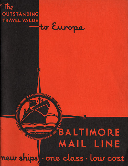 Front Cover, Outstanding Travel Value to Europe on the Baltimore Mail Line